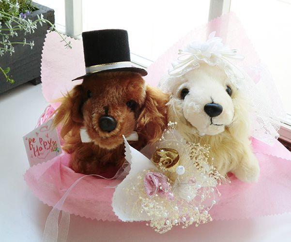 祝●結婚 ミニチュアダックス ぬいぐるみ ブライダルセット